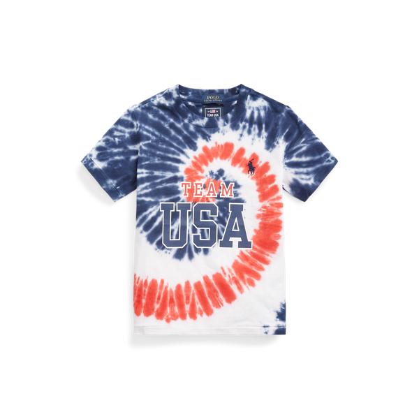 Polo Ralph Lauren Kids' Team Usa Tie-dye Cotton Tee In Multi