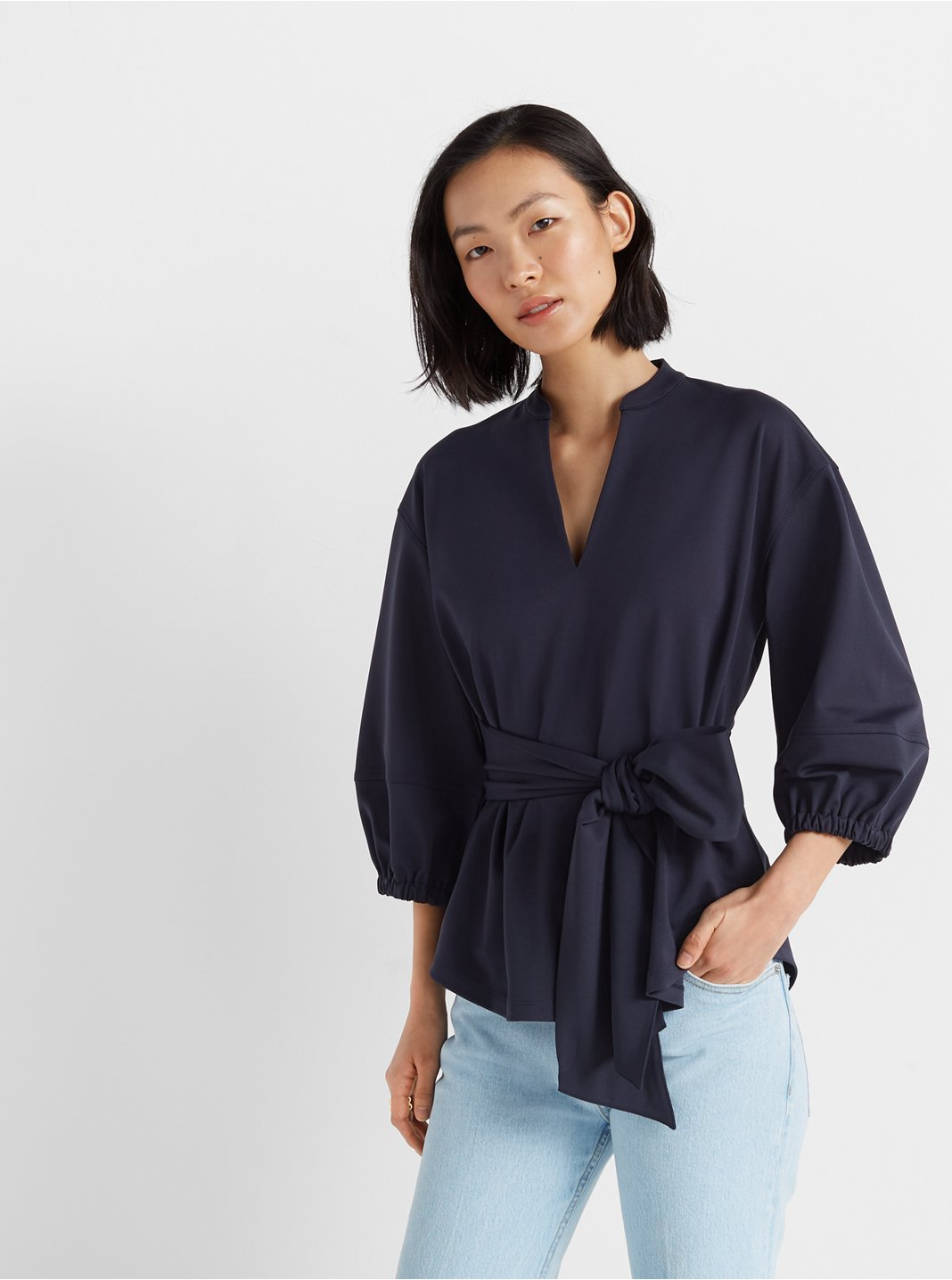 클럽 모나코 튜닉 Club Monaco Tunic Wrap Top,Blueberry