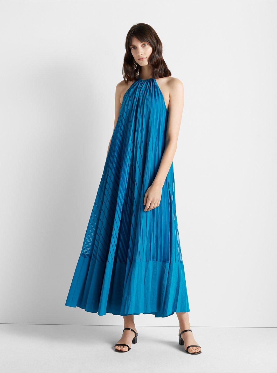 Burnout Pleated Maxi Dress