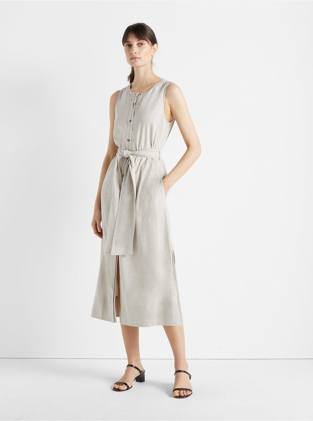 Sleeveless Button Front Dress