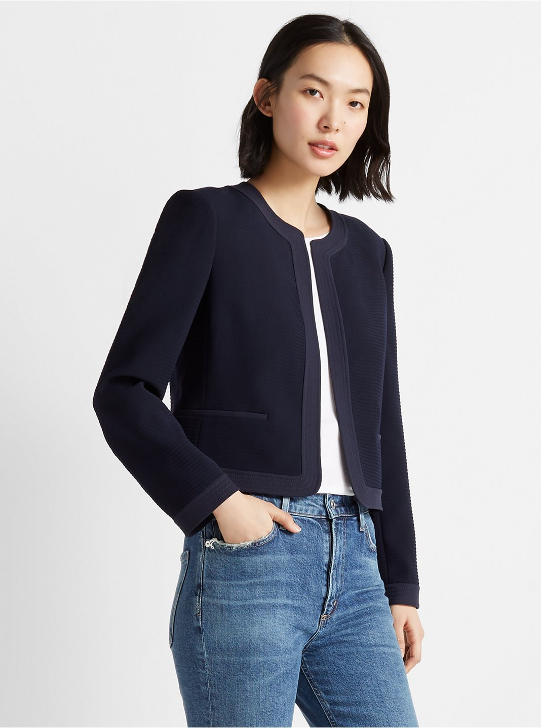 Textured Collarless Jacket
