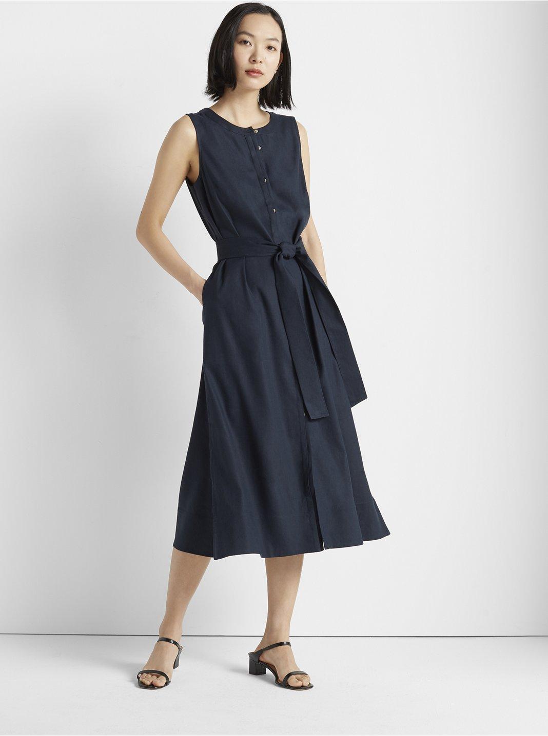 클럽 모나코 민소매 버튼 원피스 - 블루베리 Club Monaco Sleeveless Button Front Dress,Blueberry