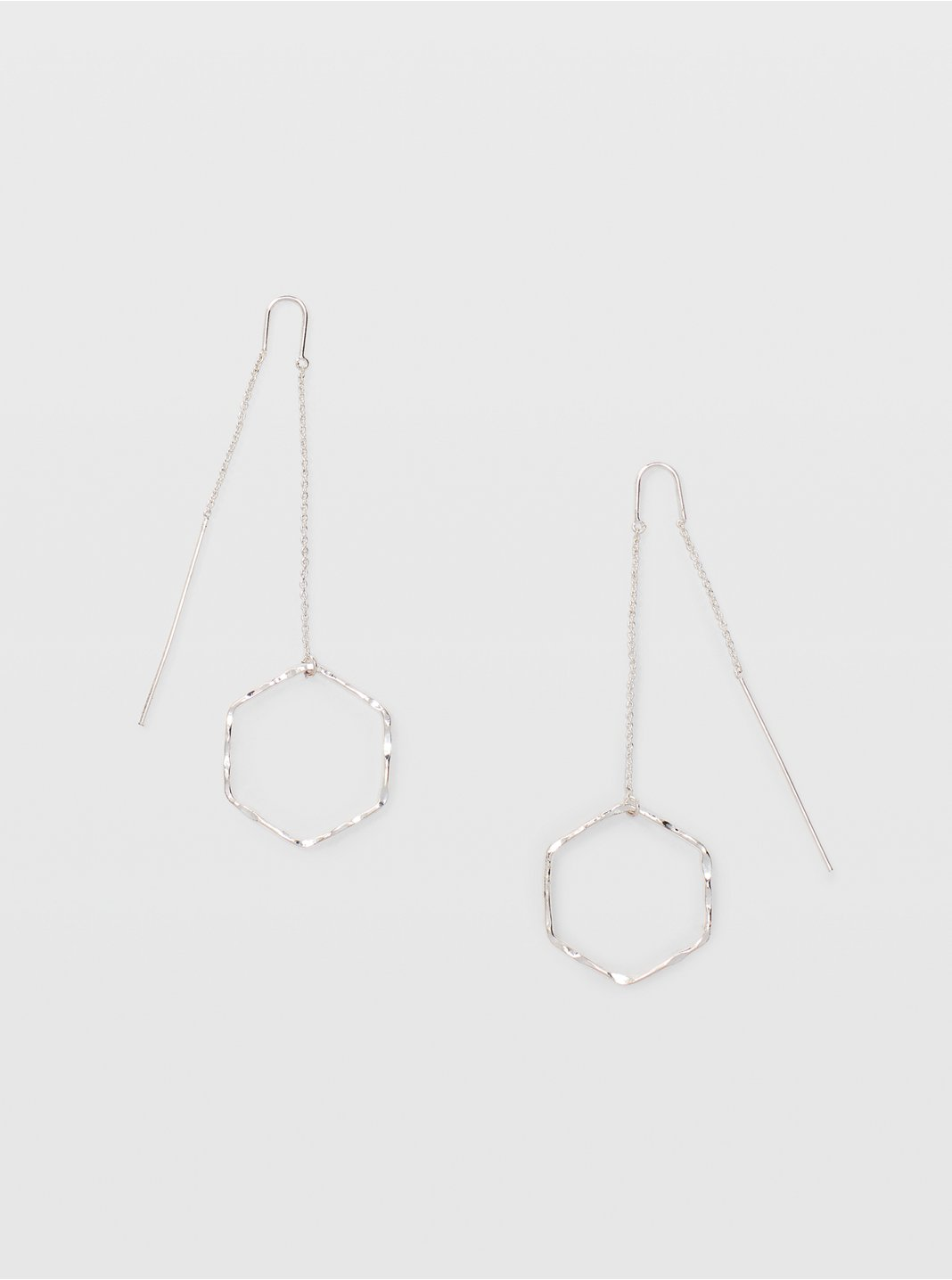 Hammered Geo Threader Earring