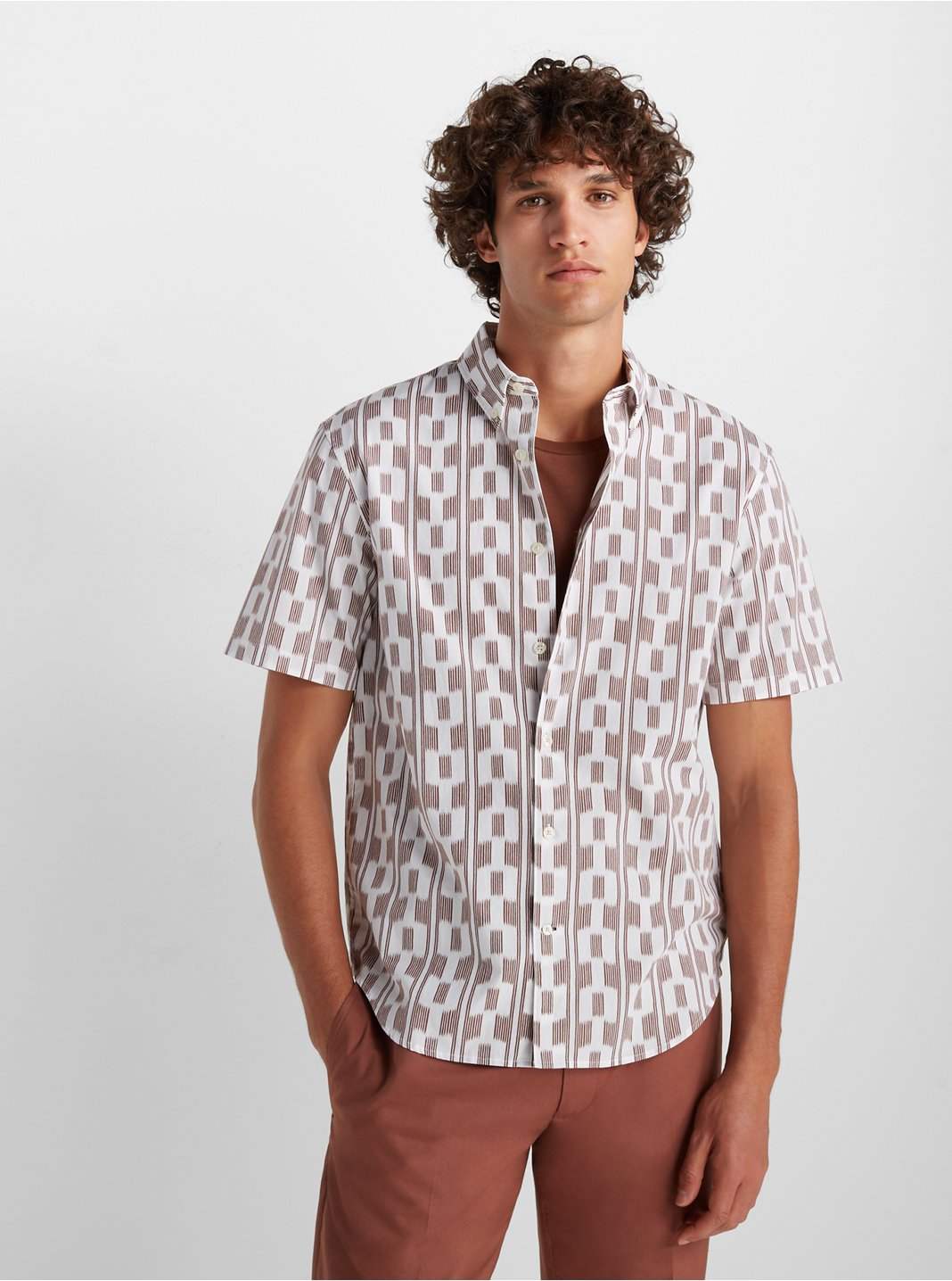 Short Sleeve Ikat Stripe Shirt