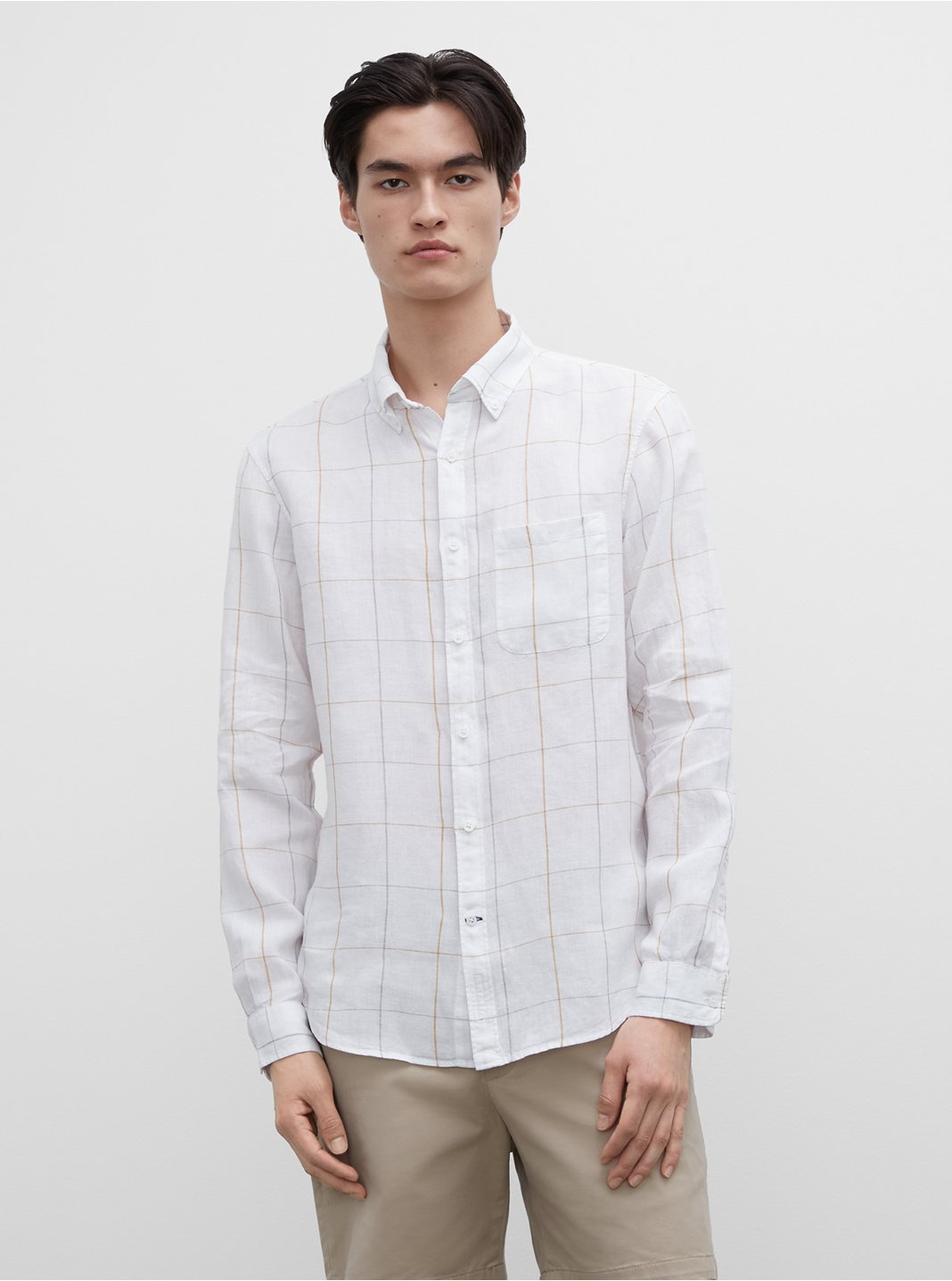 Slim Windowpane Linen Shirt