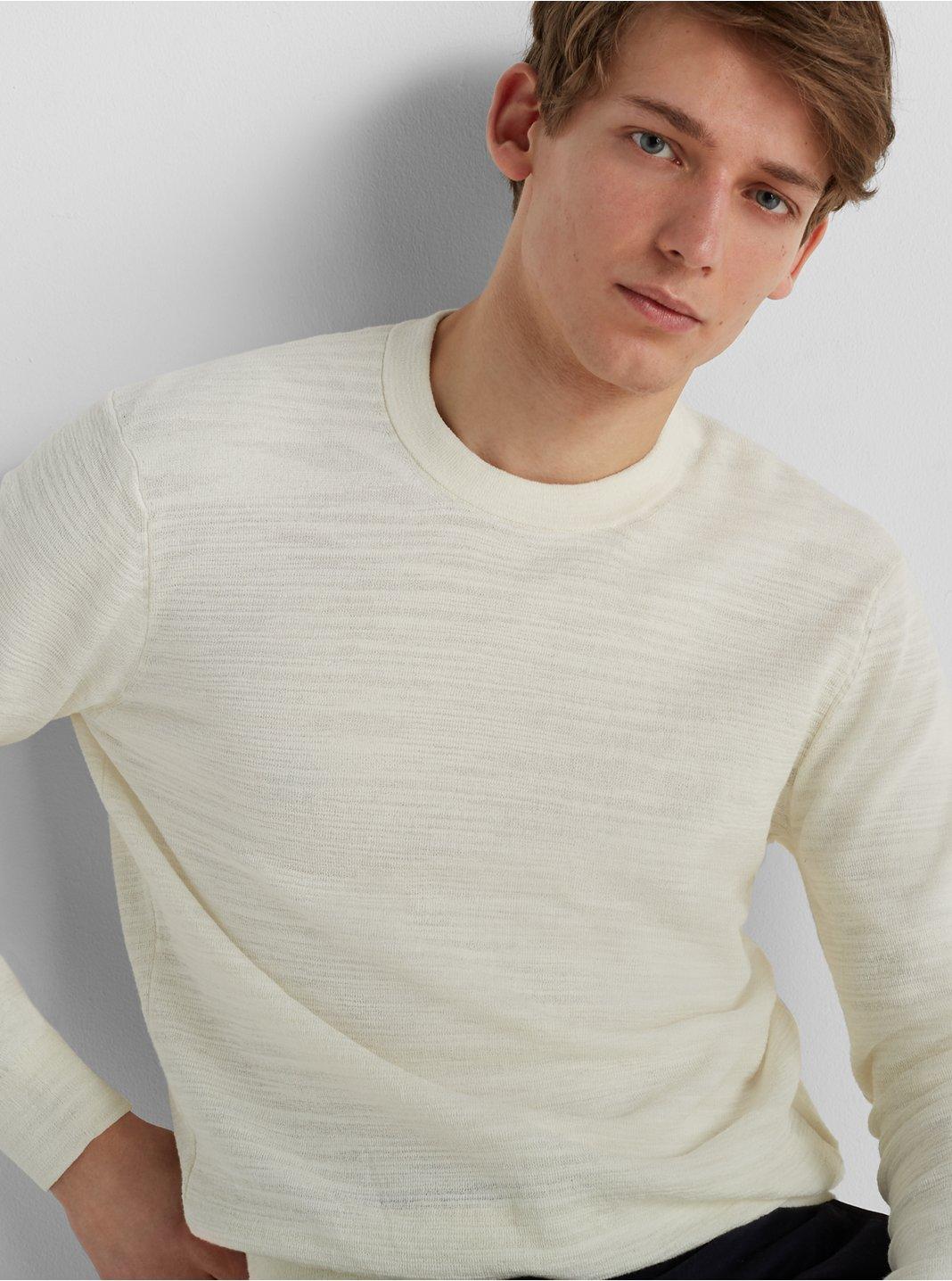 클럽 모나코 Club Monaco Club Slub Sweater,White