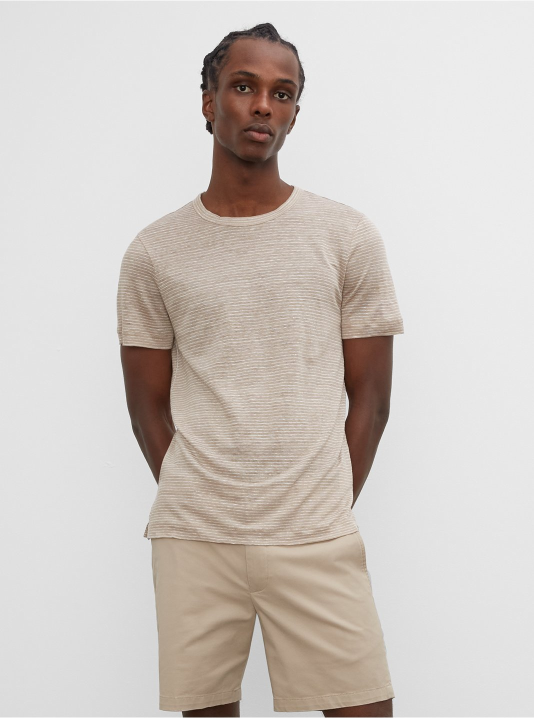 Short Sleeve Linen Stripe Crew