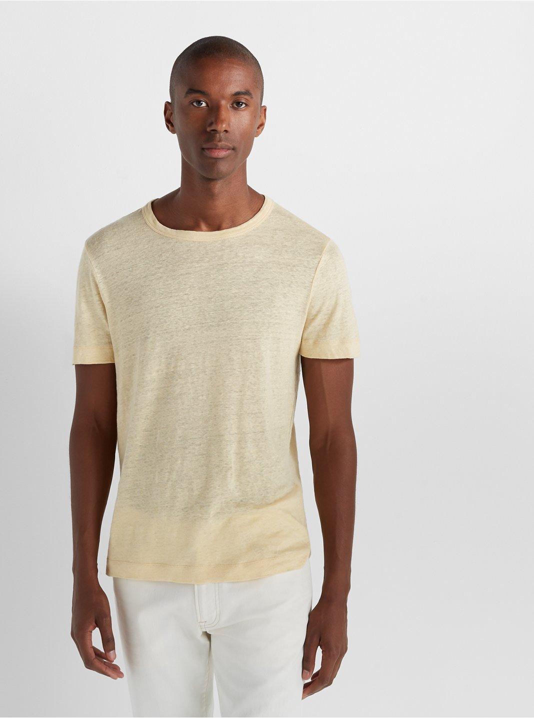 Short Sleeve Linen Crew
