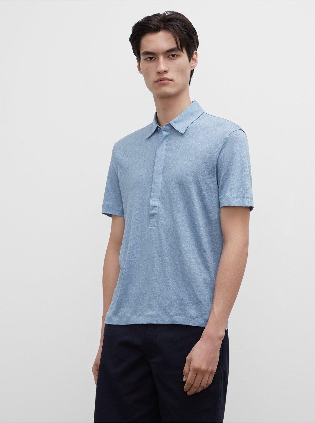 클럽 모나코 맨 팝오버 Club Monaco Short Sleeve Linen Popover,Light Blue