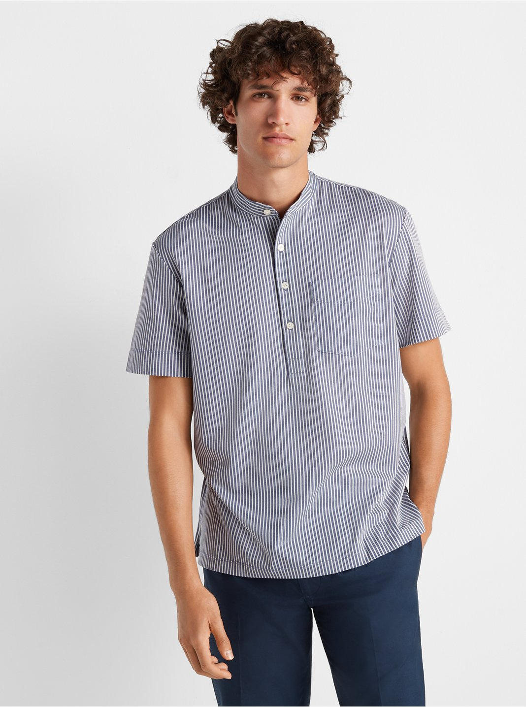 Short Sleeve Striped Popover