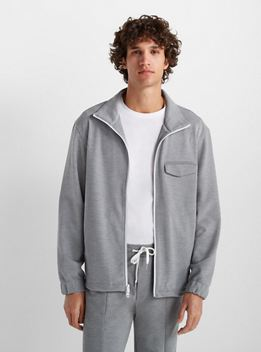 Club Monaco Mens Pique Track Jacket (Heather Grey)