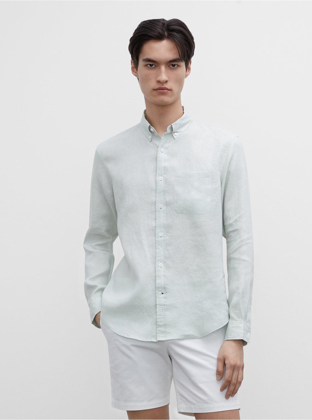 클럽 모나코 셔츠 Club Monaco Slim Linen Shirt,Pale Blue