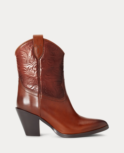 Bottines en cuir repoussé