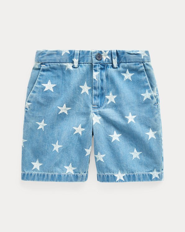 Star-Print Denim Short