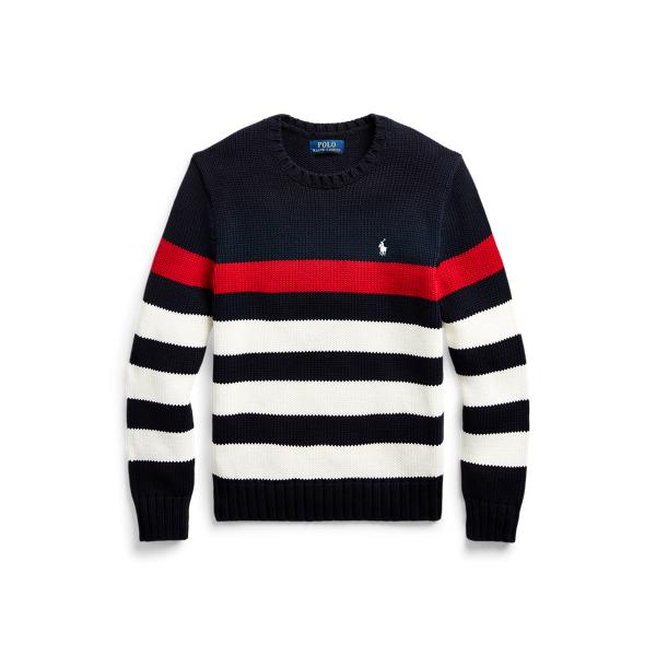 폴로 랄프로렌 보이즈 스웨터 Polo Ralph Lauren Striped Cotton Sweater,RL Navy Multi