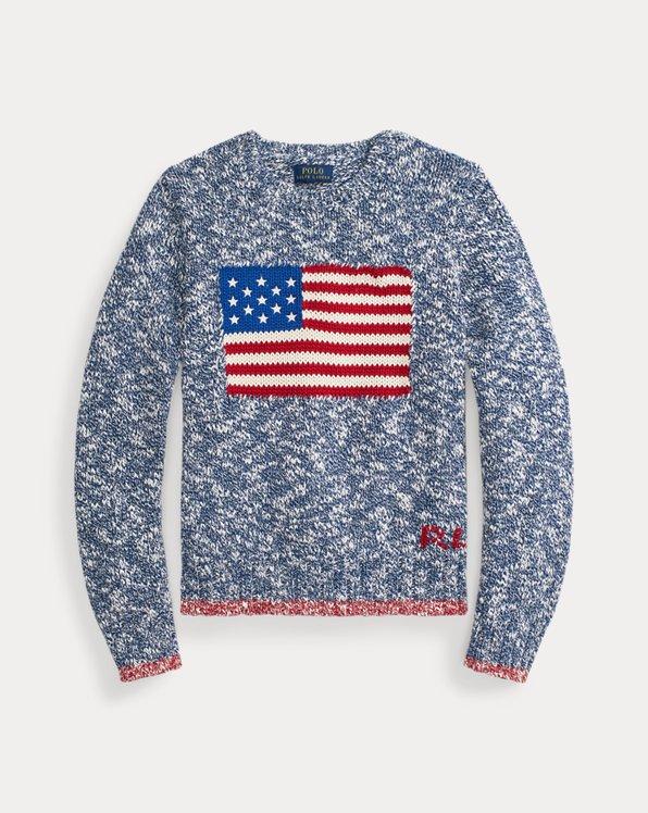 Jersey de algodón con bandera intarsia