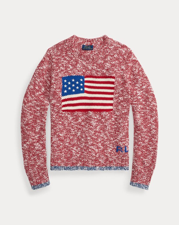 Intarsia-Flag Cotton Jumper