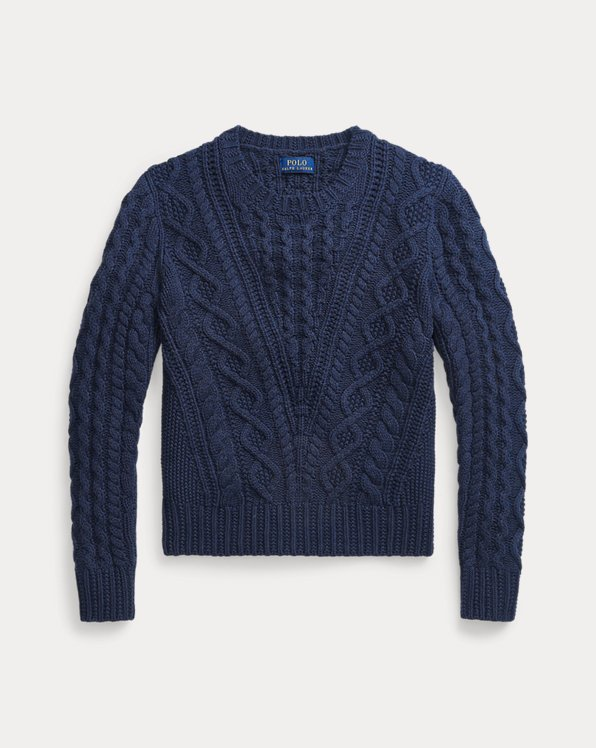 Aran-Knit Cotton-Blend Jumper