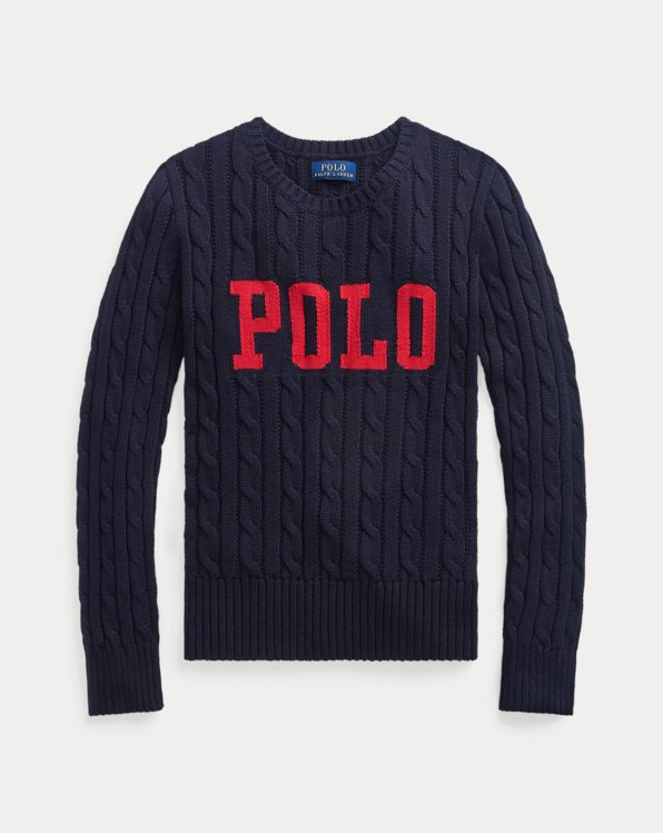 Logo Cable-Knit Cotton Jumper