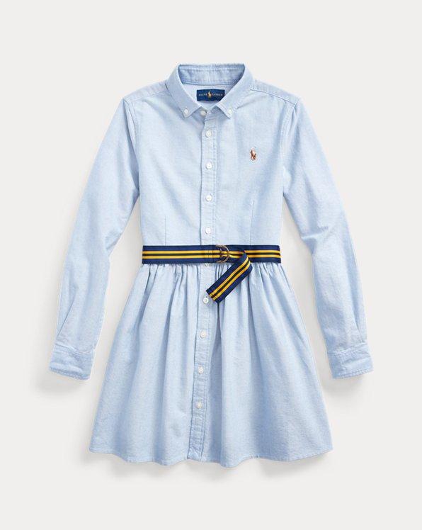 Robe-chemise ceinturée en coton