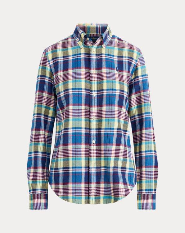 Camisa de algodón con estampado madrás
