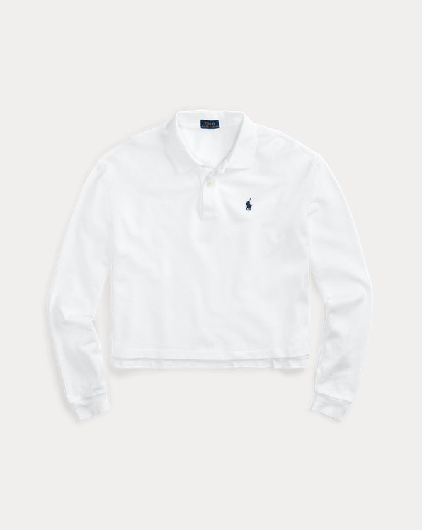 Cropped Long-Sleeve Polo Shirt
