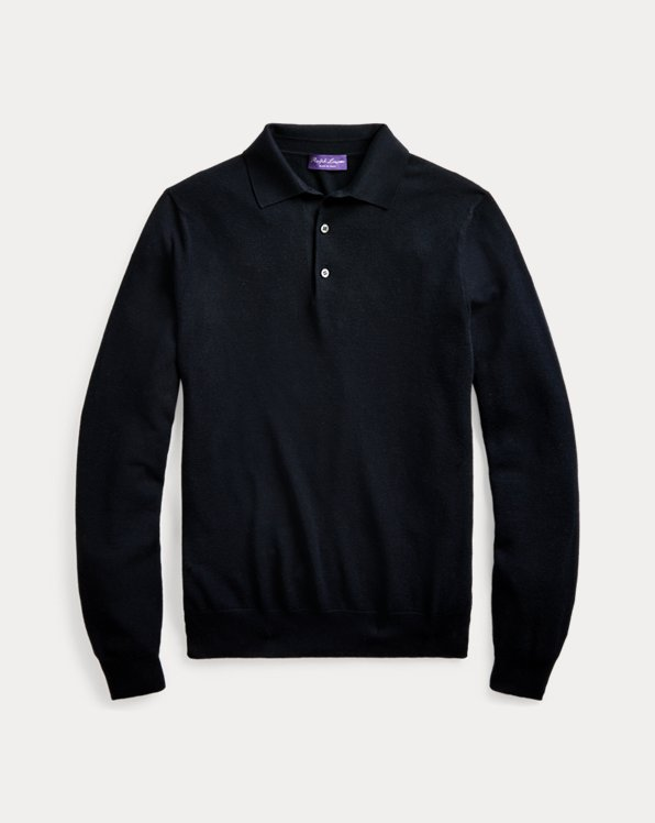Silk-Blend Polo-Collar Sweater