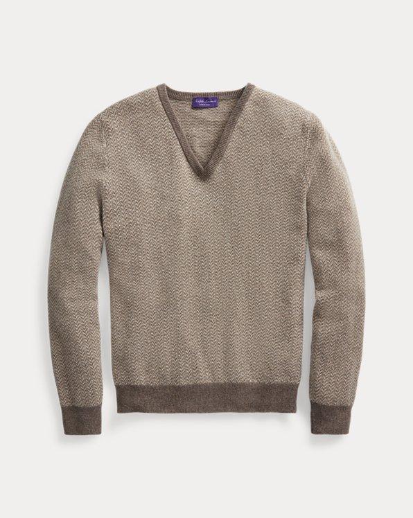 Patterned Cashmere V-Neck Sweater