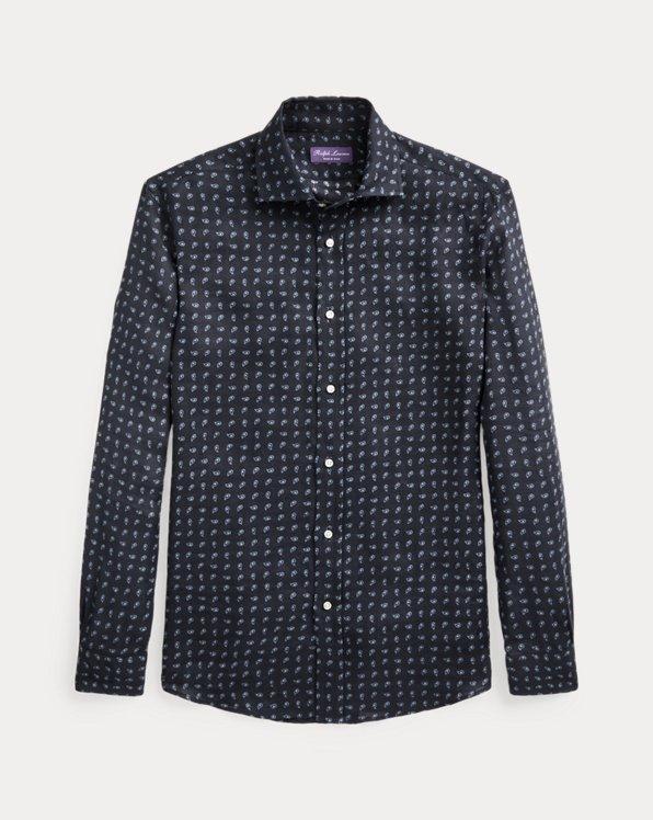 Neat-Print Linen Shirt