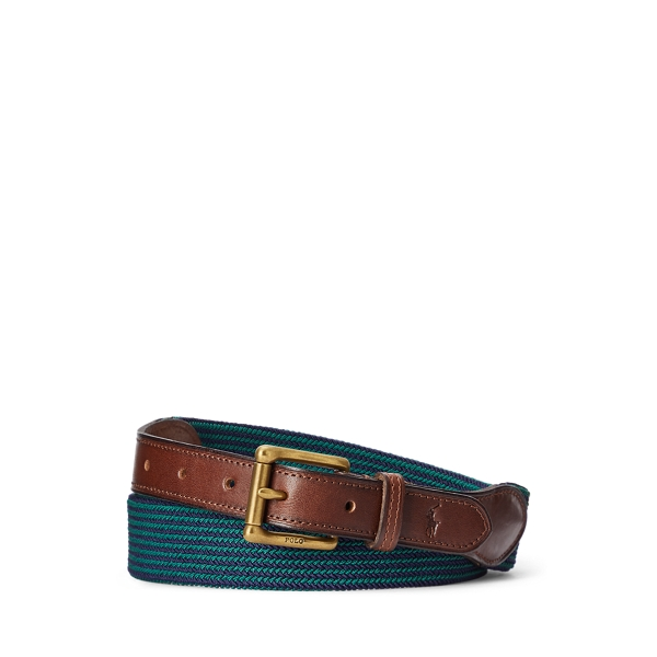 폴로 랄프로렌 Polo Ralph Lauren Leather Trimmed Striped Belt,French Navy/New Forest