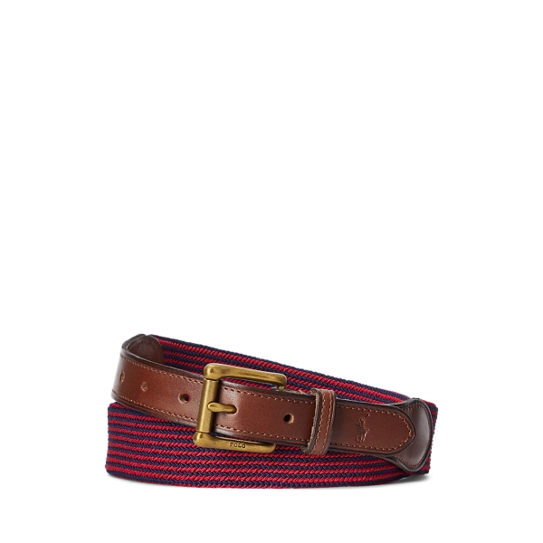 폴로 랄프로렌 Polo Ralph Lauren Leather Trimmed Striped Belt,French Navy/Ralph Red