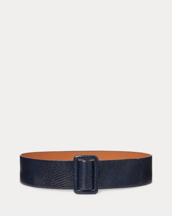 Lizard-Stamped Calfskin Belt