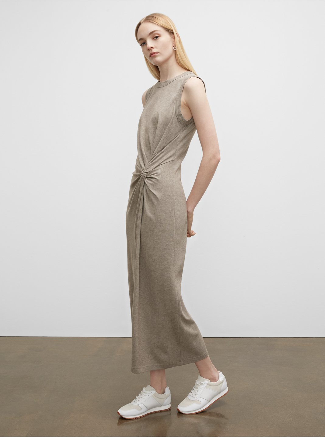 Twist Front Knit Maxi Dress