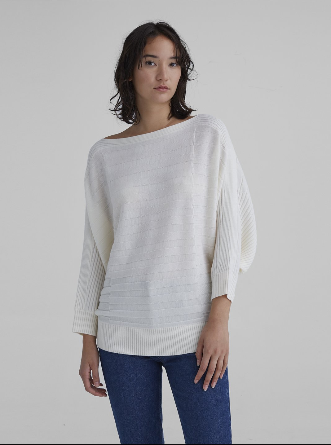 Dolman Ribbed Wool Sweater