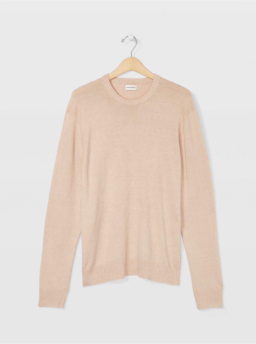 클럽 모나코 Club Monaco Linen Crew Sweater,Khaki