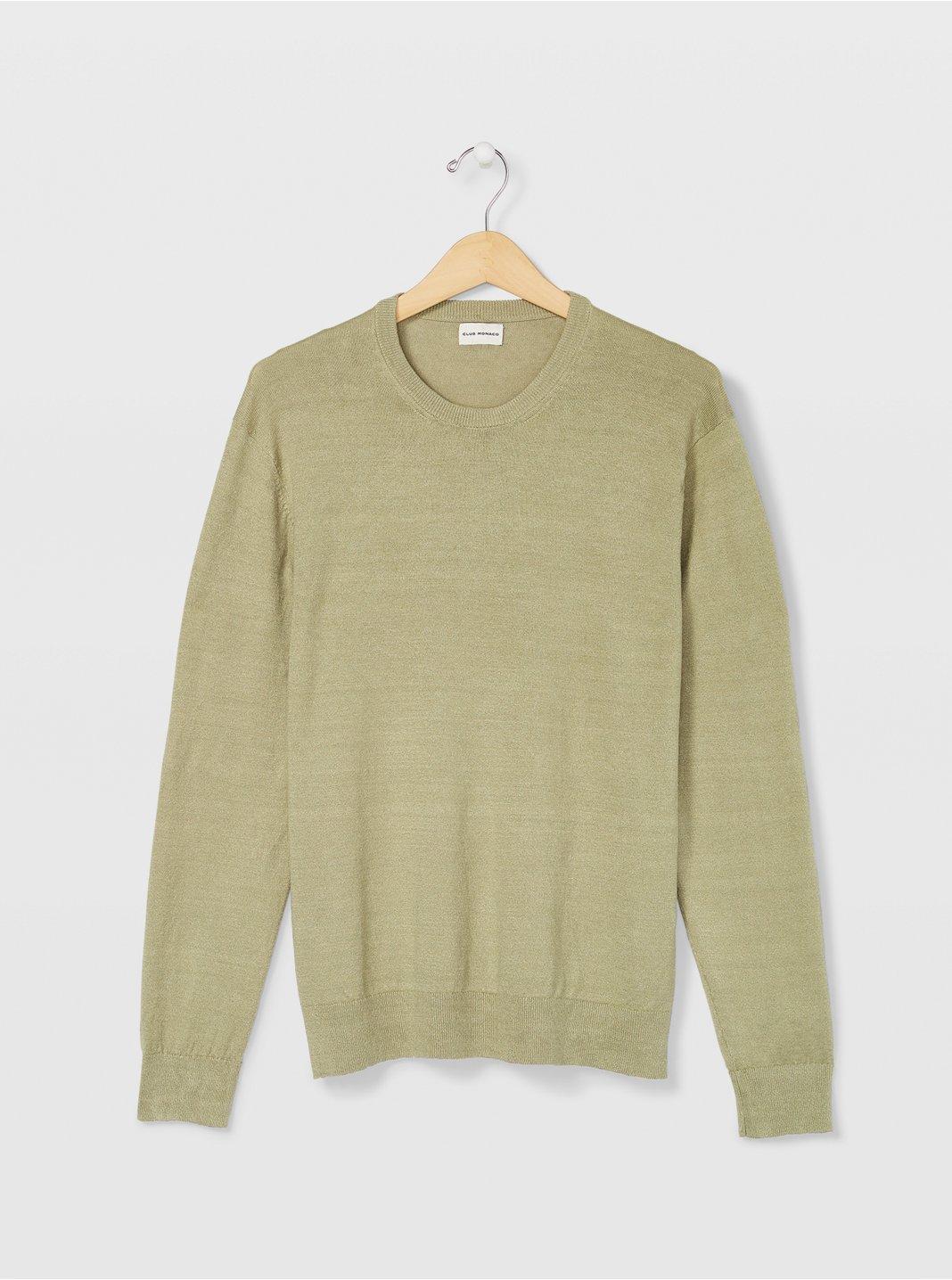 클럽 모나코 Club Monaco Linen Crew Sweater,Pistachio