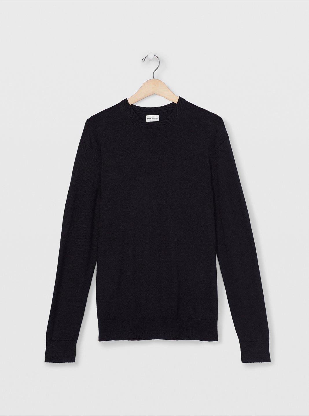 클럽 모나코 Club Monaco Linen Crew Sweater,Black