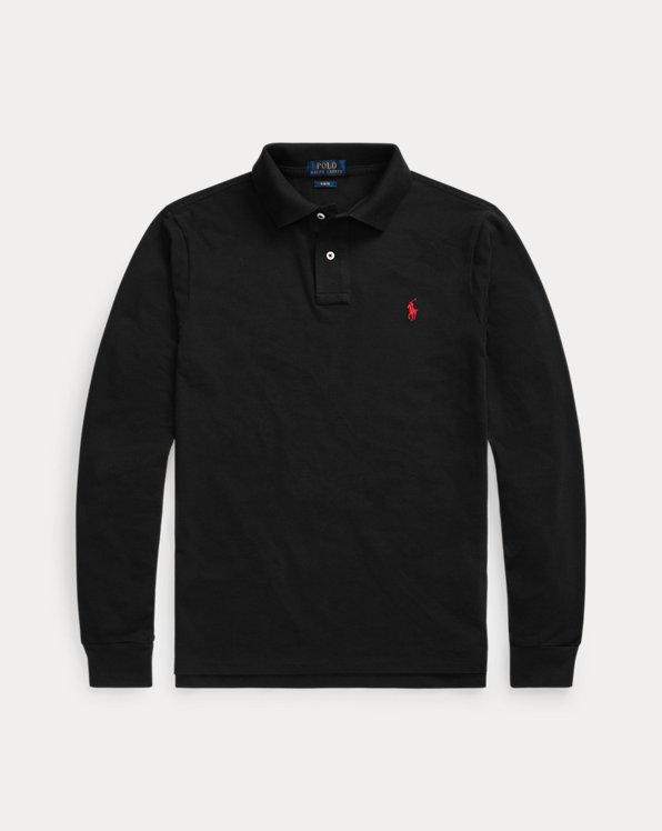 Slim-Fit Langarm-Polo aus Piqué