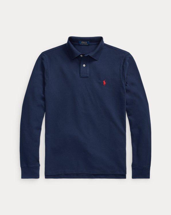Slim-Fit Langarm-Polo aus Piqué
