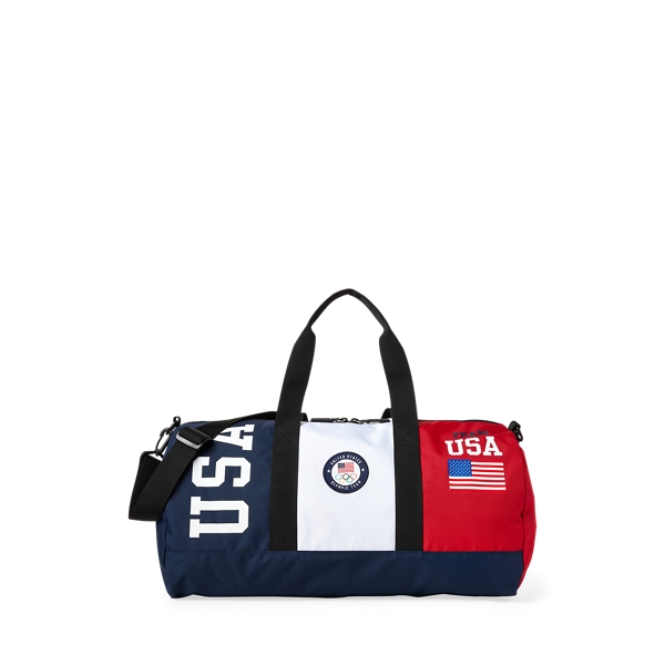 Ralph Lauren Team Usa Color-blocked Duffel In Navy/red/white
