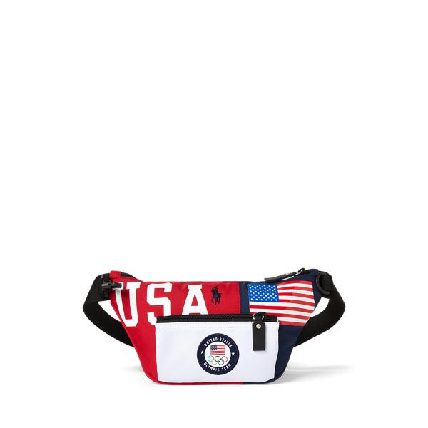 Ralph Lauren Team Usa Color-blocked Waist Pack In Navy/red/white
