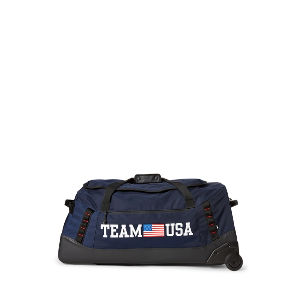 Ralph Lauren Team Usa Rolling Duffel In Navy/black