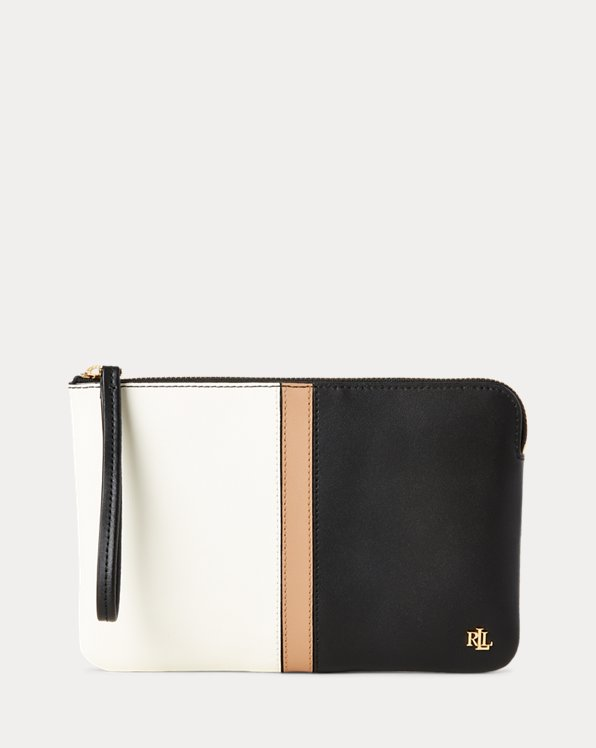 Color-Blocked Leather Pouch