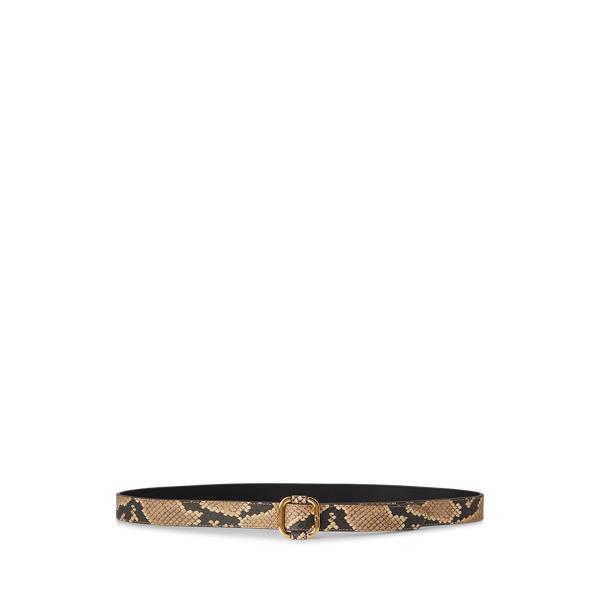 폴로 랄프로렌 Polo Ralph Lauren Printed Leather Slide-Buckle Belt,Nude