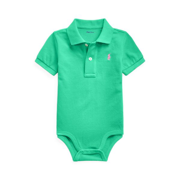 폴로 랄프로렌 베이비 아기옷 우주복  Polo Ralph Lauren Cotton Mesh Polo Bodysuit,Sunset Green