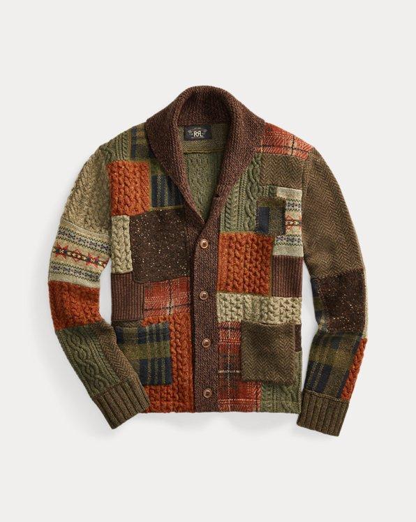 Patchwork-Strickjacke aus Wollmischung
