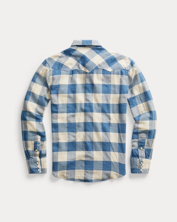 Slim Fit Plaid Twill Western Shirt
