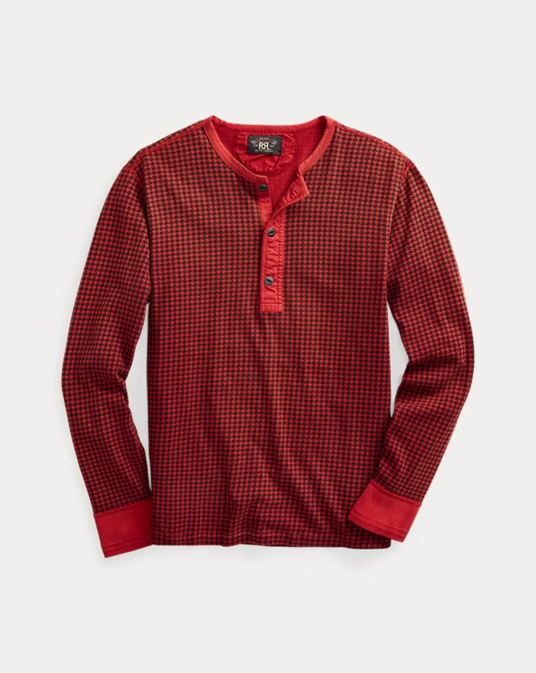 Houndstooth Cotton Jersey Henley Shirt
