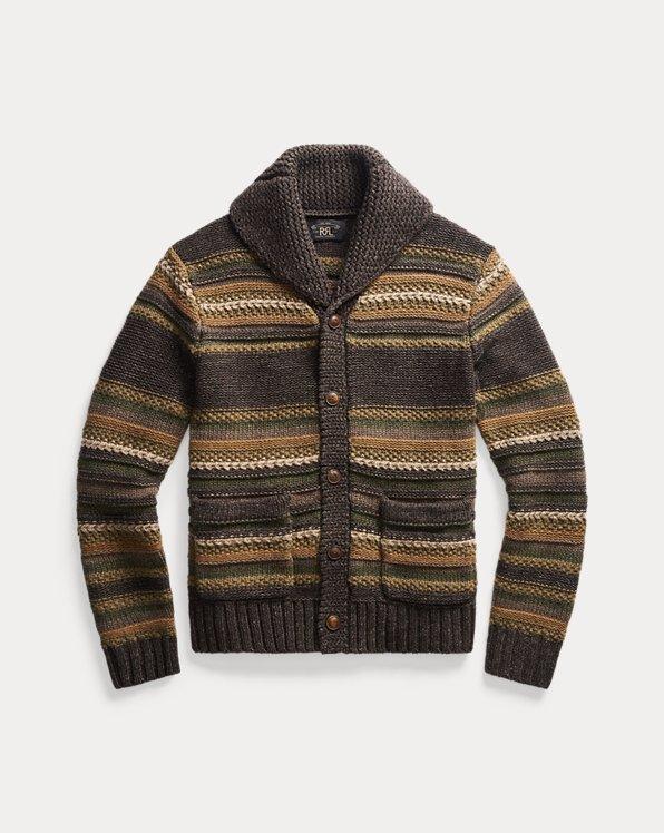 Striped Mixed-Knit Cardigan