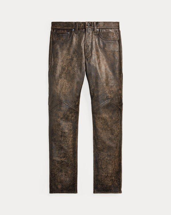 Slim Fit Embossed Leather Pant